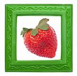 Modern Green Frame with Strawberry