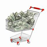 Shopping cart and dollars