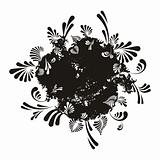 Round abstract floral background