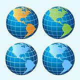 Globes showing America continents