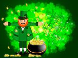 Happy St Patricks Day Leprechaun Pot of Gold