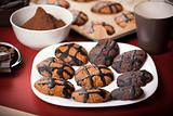 A plate of chocolate cookies