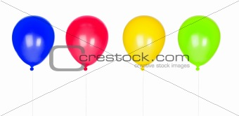 Four colorful balloons inflated