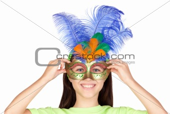 Adorable little girl with Venetian carnival mask