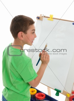 Boy reading to paint