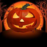 Scary pumpkin postcard. EPS 8