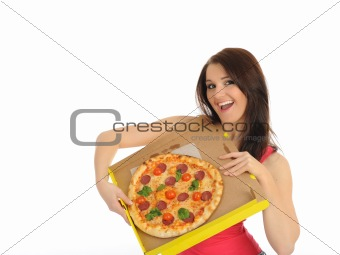 Pretty young casual girl with tasty pizza in delivery paper box.