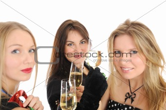 Group of three beautiful woman with glasses of champagne