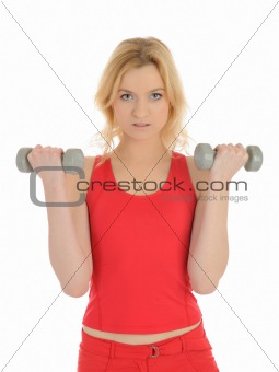 Portrait of fitness woman working out with free weights.