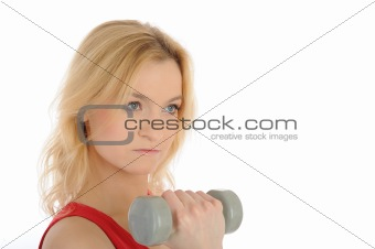 fitness woman working out with free weights.
