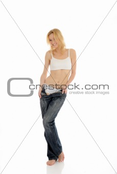 Slim woman undressing. isolated on white background