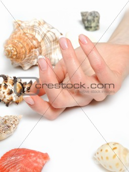 Beautiful hands with perfect spa french manicure