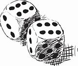 Rough monochrome sketch - two dices