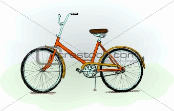 Old-fashioned bicycle - vector illustration