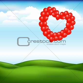 Landscape With Balls In Form Of Heart