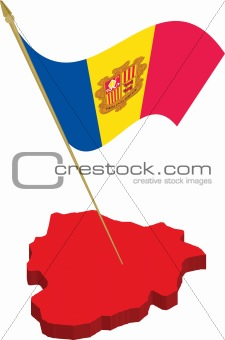 andorra 3d map and waving flag