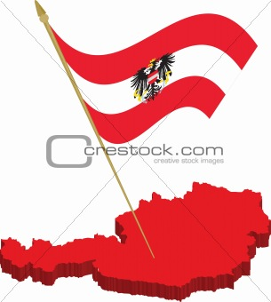 austria 3d map and waving flag