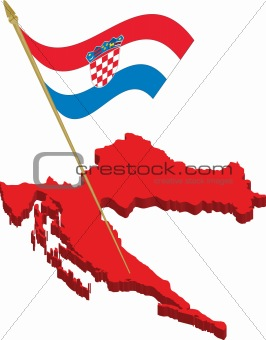 croatia 3d map and waving flag