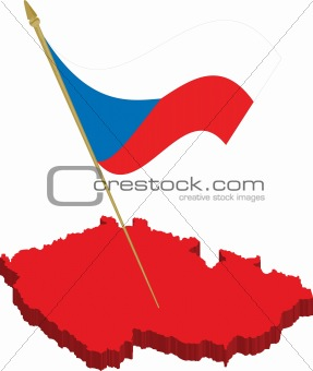 czech 3d map and waving flag