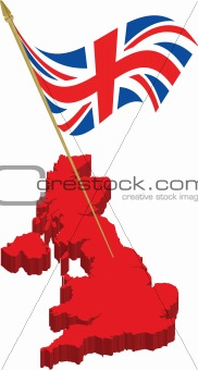 great britain 3d map and waving flag
