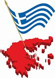 greece 3d map and waving flag