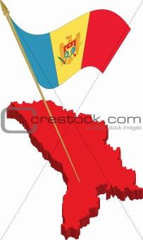 moldova 3d map and waving flag