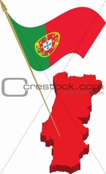 portugal 3d map and waving flag
