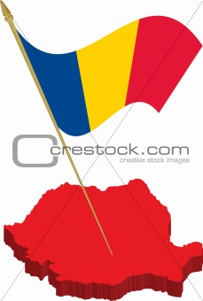 romania 3d map and waving flag