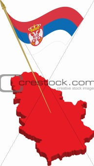 serbia 3d map and waving flag
