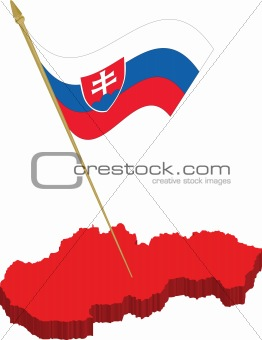 slovakia 3d map and waving flag