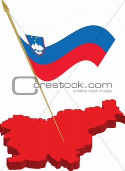 slovenia 3d map and waving flag
