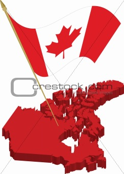canada 3d map and waving flag