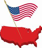 usa 3d map and waving flag