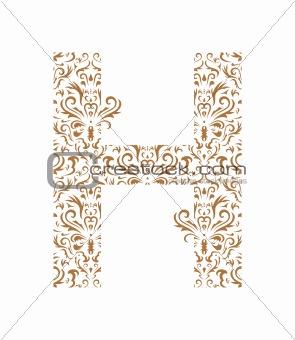 Floral letter. Ornament font