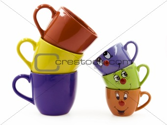Three Middle Cups Beside Three Kid's Cups