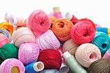 spools and balls of yarn