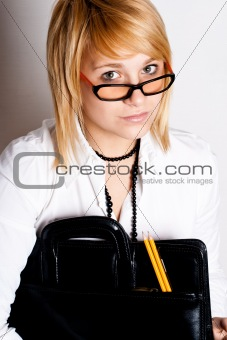businesswoman with portfolio