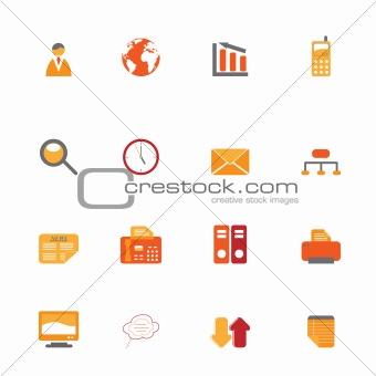 Business symbols in orange tones
