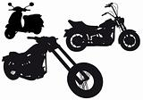 motorcycle silhouettes, vector