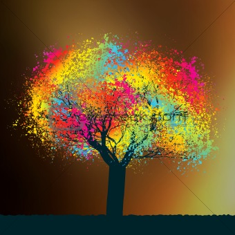 Abstract colorful tree. EPS 8