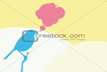 Tweeting blue bird on yellow background