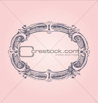 Antique frame on pink background