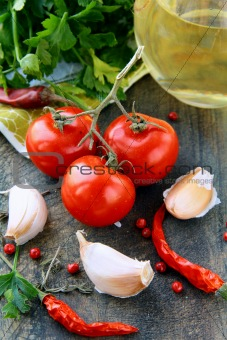 tomato, garlic, pepper, and olive oil