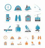 travel, Tourism, vacation  and mountain objects