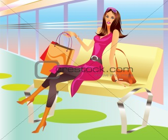 fashion shopping girl with bag relax in mall