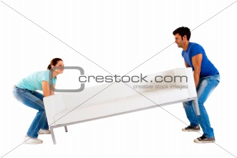 Couple carrying a sofa