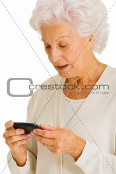 old woman with mobile