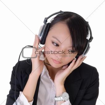 Business woman listen mp3