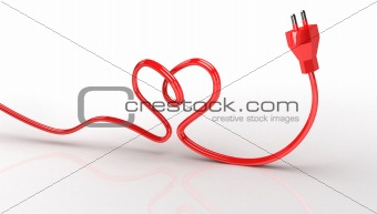 3d contour heart from electric cord