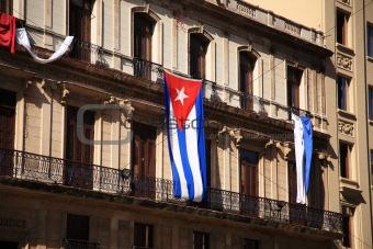 Flag of Cuba on a building